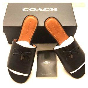 EUC COACH tassel slide sandal. Black